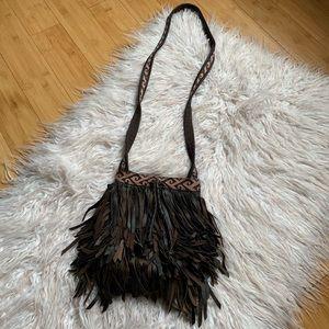 Lucky Brand 🐑 Leather Fringe Bucket Bag